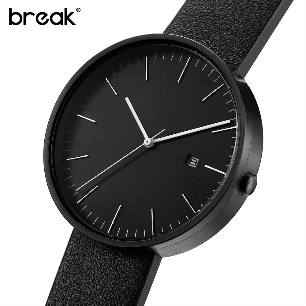 BREAK Unisex Genuine Leather Strap Minimalist Fashion Casual Business Quartz Wrist Watches For Women Relogio Masculino Clock Men bamboo wood watches for men and women fashion casual leather strap wrist watch male relogio