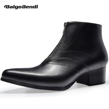 Elegant Men High Heel Dress Boots Pointed Toe Zip Ankle Winter Height Increasing Shoes Thick