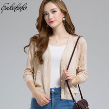 6dfa3385e0 Summer Fashion Women Cardigan Sweater 2018 Pink Casual Long Sleeve Knitted  Cardigan Pearls Hollow Short Cardigans