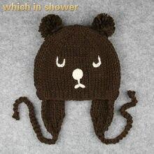 02d999af85dde Urso dos desenhos animados do bebê tampão feito malha chapéu earflap quente  ao ar livre crianças flap ear gorro skullies gorros .