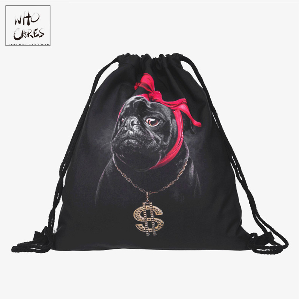 cceeda502c99 Gangsta pug dog 3D Printing backpack women Travel Drawstring bag mochilas  mujer 2018 fashion mochila feminina