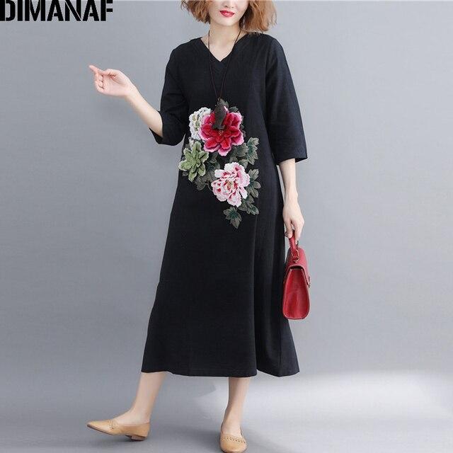 f970a0191b1 DIMANAF Women Long Dresses Elegant Vintage Plus Size Female Lady Vestidos  Appliques Floral Linen Black Dress