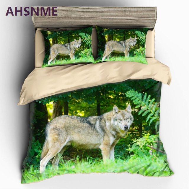AHSNME Lonely Wild Wolf Pattern Bedding set Jungle Real Animal Photo Quilt Cover High-definition Print Home Textiles