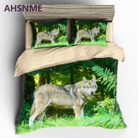 AHSNME Lonely Wild Wolf Pattern Bedding set Jungle Real Animal Photo Quilt Cover High definition Print Home Textiles