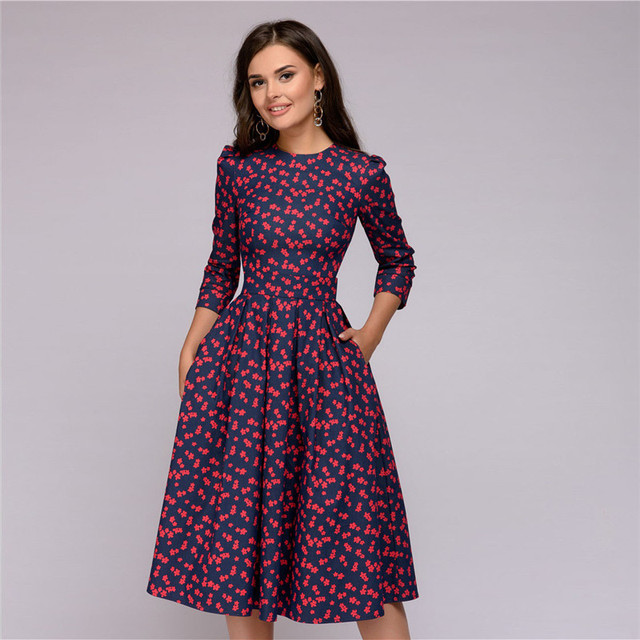 Christmas Dresses Womens.Womens Dresses New Arrival 2018 Fall Casual Printing Party Dress Ladies Autumn Summer Vintage Christmas Dresses Plus Size