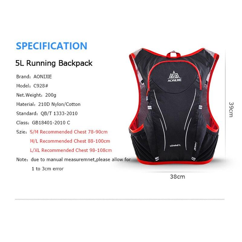 AONIJIE C928 5L sac à dos d'hydratation sac à dos gilet harnais pour 2L vessie d'eau randonnée Camping course Marathon Sports de course - 2