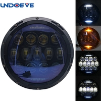 130W 7 Inch Round Led Headlight With White Amber Signal Halo Ring For Jeep Wrangler Accessories