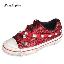 White Shoes Women Glitter Sneakers Crystal zapatillas mujer Sequins Spring  New chaussures femme Rhinestone Ladies footware 244d4607aca8