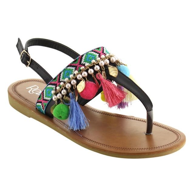 e414d6de0cae IE92 Women shoes Bohemian Pom Pom Tassel Ankle Strap Thong Flat Sandal