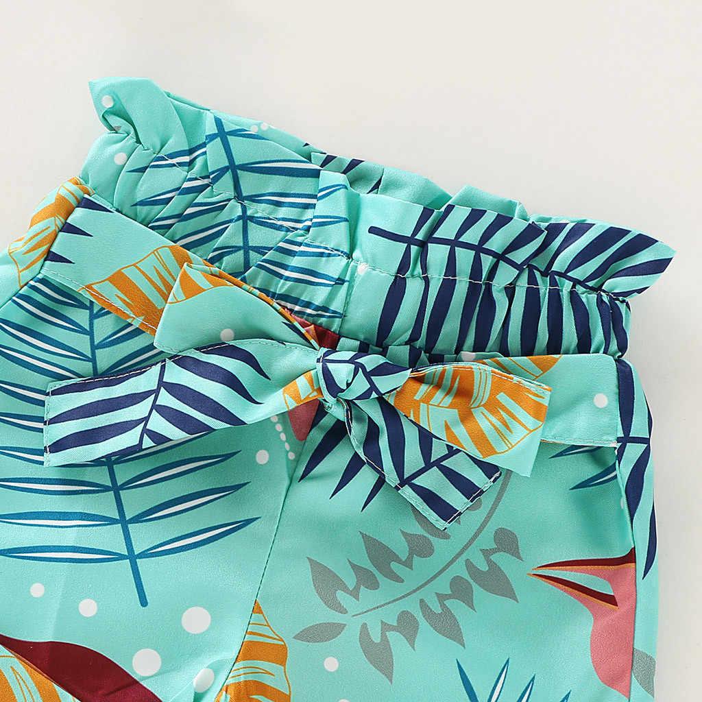 2019 conjunto de roupas para meninas do bebê recém-nascido roupas infantis plissado sólido + calções florais 2 pçs roupas da menina do bebê babykleding meisjes