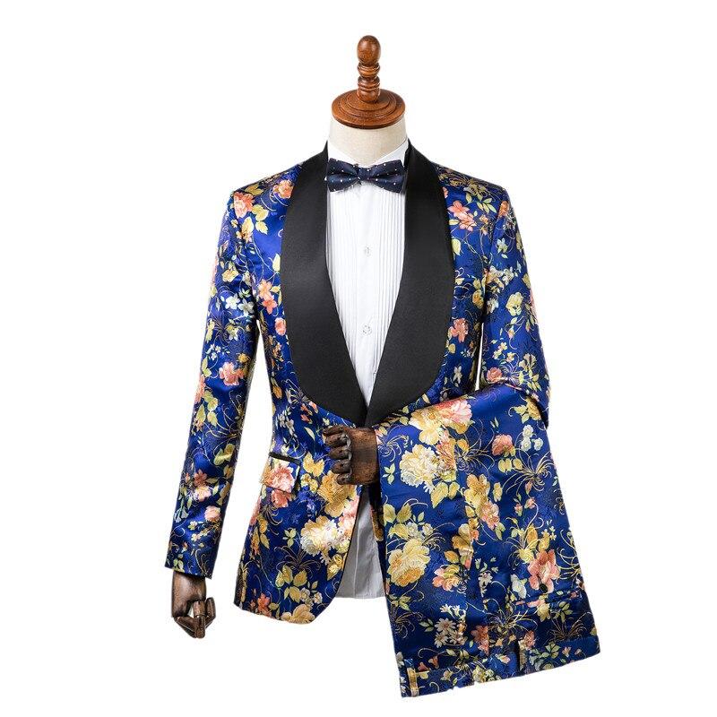 Erkek Kıyafeti'ten T. Elbise'de Gwenhwyfar Yeni Ceket Pantolon Tasarım Erkekler Smokin Zarif Mavi Çiçek Baskı Slim Fit Damat Smokin Blazer Düğün Parti Takım Elbise'da  Grup 1