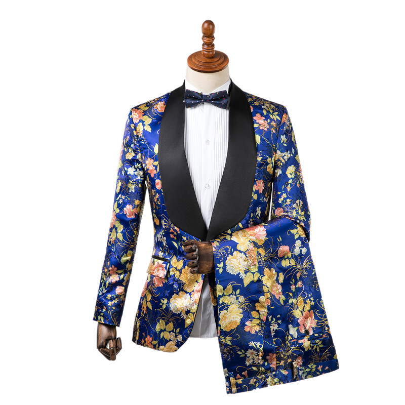 Gwenhwyfar جديد سترة السراويل تصميم الرجال البدلات الرسمية أنيقة الأزرق زهرة الطباعة سليم صالح العريس البدلات الرسمية سترة الزفاف حزب الدعاوى-في بدلة من ملابس الرجال على  مجموعة 1