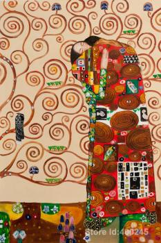 Hand painting art Fulfillment (The Embrace) of Gustav Klimt reproduction oil Canvas Handmade High quality