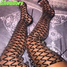 2017 Summer Hot Metal Stud Cover Women Thigh Gladiator Boots Peep Toe Ladies Cut Outs Fashion Long Boots Sexy High Heel Boots