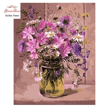 Golden Panno,Needlework,DIY DMC 14CT Cross stitch Kit, Pattern Embroidery Cross-stitch Painting,Christmas,crafts,floral,vase1026