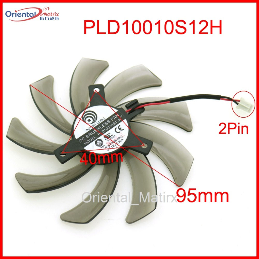 Free Shipping PLD10010S12H 12V 0.30A 95mm 2Pin VGA <font><b>Fan</b></font> For Gigabyte GeForce <font><b>GTX</b></font> <font><b>660</b></font> 600 7750 TI Graphics Card Cooling <font><b>Fan</b></font> image