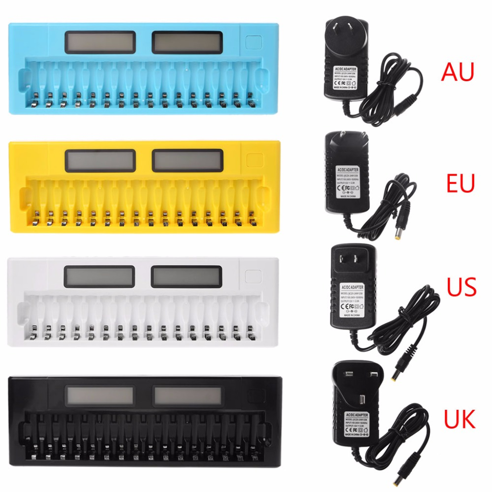 16 Slots LCD Intelligent Smart Battery Charger 1.2V AA AAA Ni-MH Ni-Cd Batteries 4 Color цена