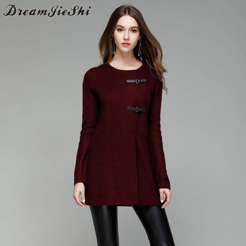 Dreamjieshi 2017 Autumn Winter Fashion Solid Color Knitted Women Cardigans Sweaters Medium-long Leather Buckle Outerwear Sweater