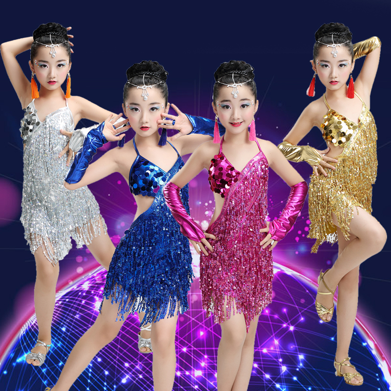 2018 New Latin Dance Dress For Kids Performance Wear Latin Sequin ...