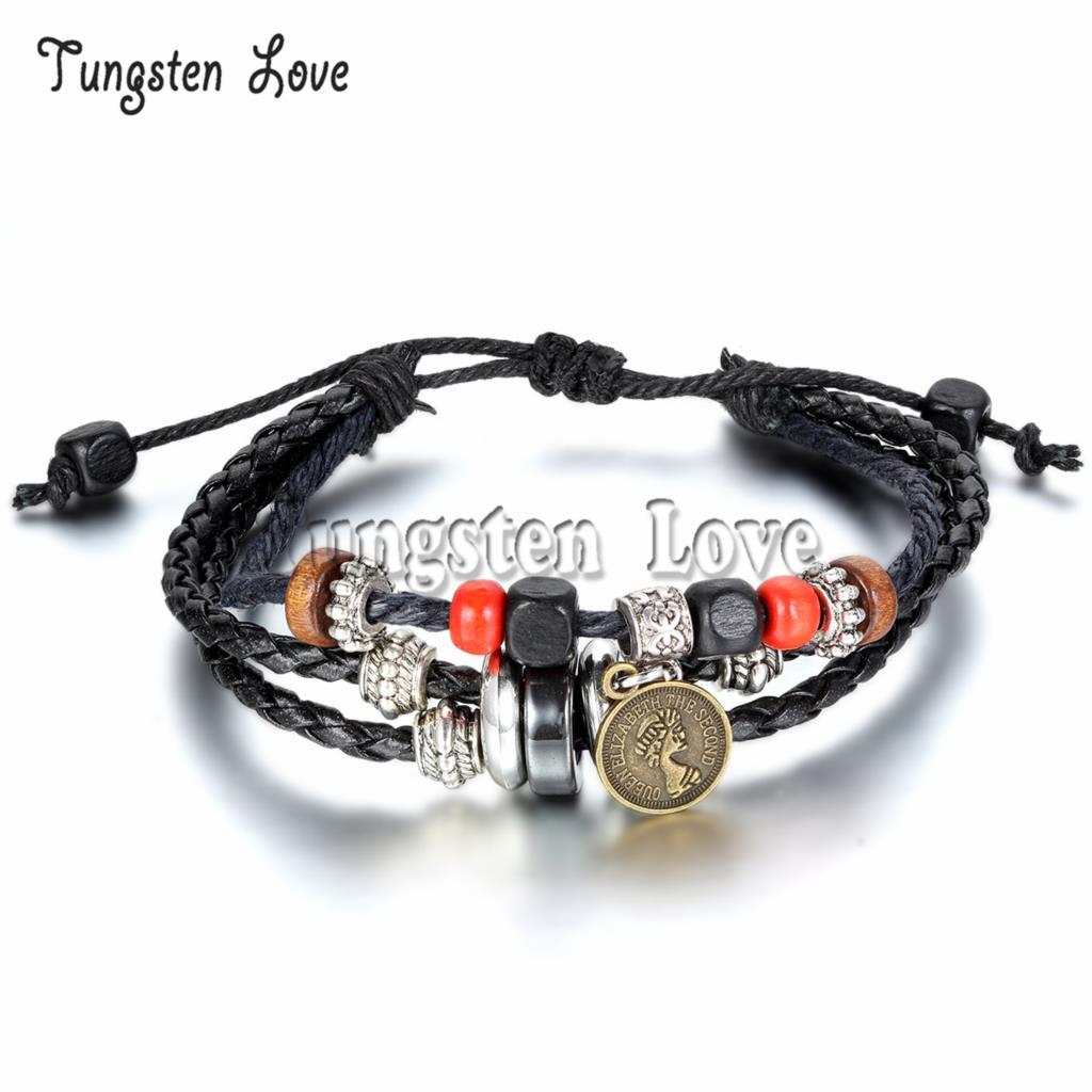 e3f50921ca17 2015 nueva multilayer trenzado Amuletos pulsera Brazaletes reina cuentas de  madera pulsera brazalete de cuero para las mujeres hombres ajustable