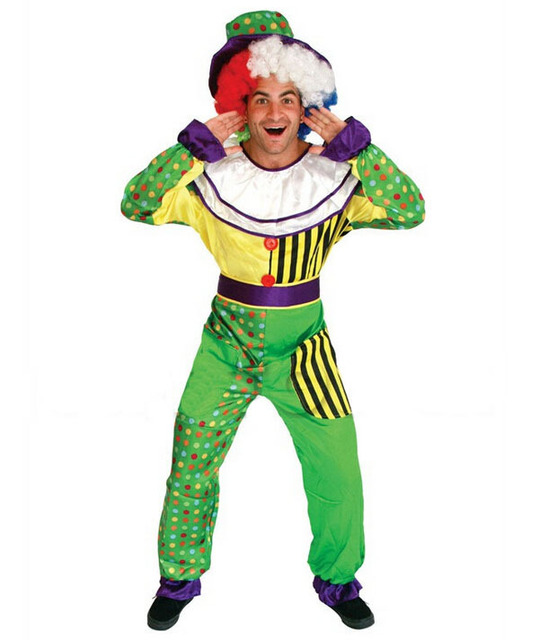 Free shipping!!The funny adult green clown costume, Christmas ...