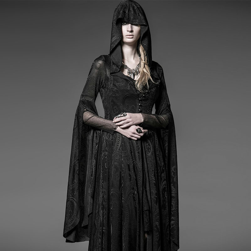 Steampunk Gothic Long Flare Sleeve Halloween Costume Dress Women Hooded Lace Knit Dresses Vintage Medieval Witch Cloak Dresses