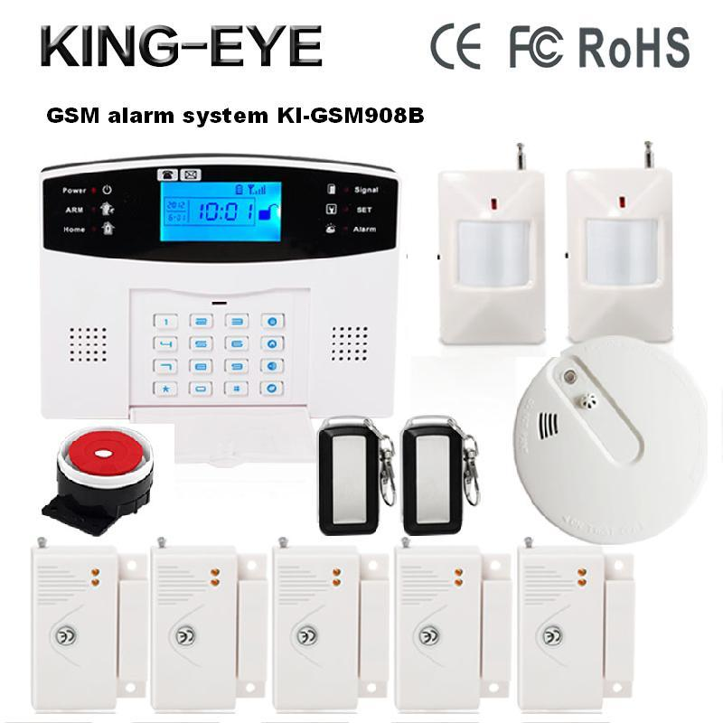 433 MHz Wireless Russian/Spanish/Turkish voice LCD display intercom GSM alarm system home security with wireless smoke detector wireless pager system 433 92mhz wireless restaurant table buzzer with monitor and watch receiver 3 display 42 call button