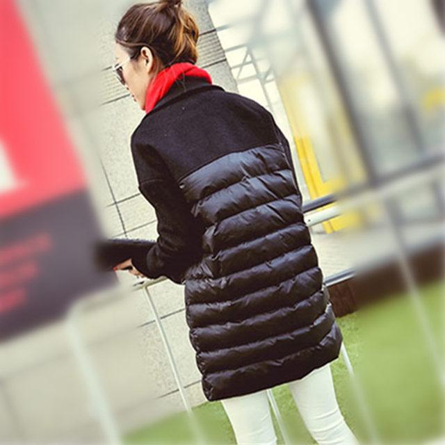 2016 Novas Mulheres Quentes de Lã Costura de Algodão Parkas Acolchoadas Meninas Casaco Longo Engrossar Inverno Turn-down Gola do Casaco Outerwear WY301