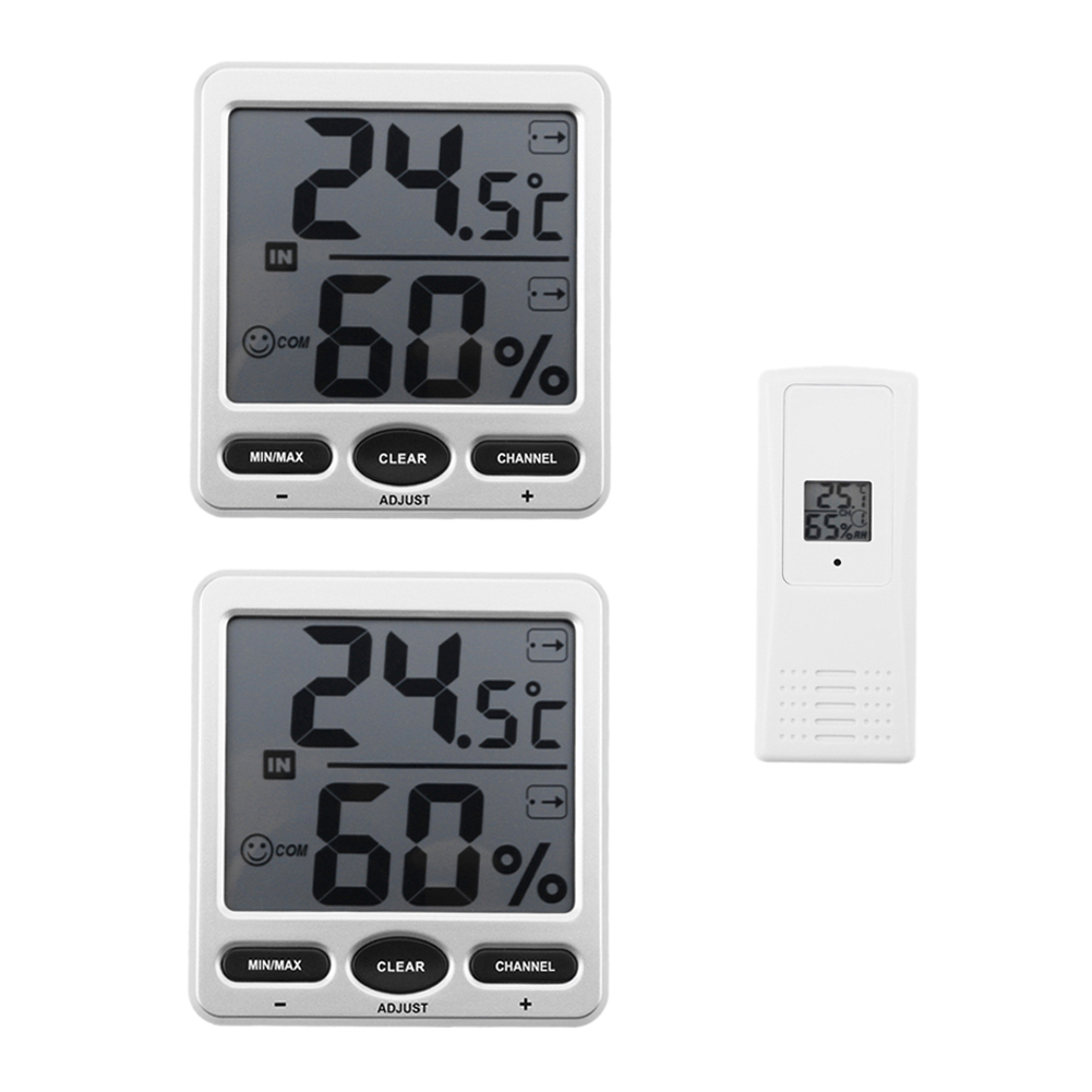 433MHz 2Pc Big Digit LCD Indoor/Outdoor Wireless Thermo-Hygrometer with 1 Remote Sensor Electronic Digital LCD Thermo-Hygrometer 1 to 1 wireless digital thermo hygrometer console receiver remote sensor emitter thermometer humidometer drying rooms