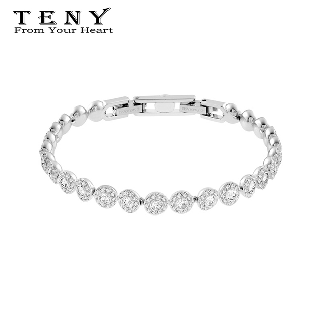 TENY Fashion Charm 100% Sterling Silver High Quality SWA ANGELIC Bangle Bracelet For Women Jewelry Free Mail
