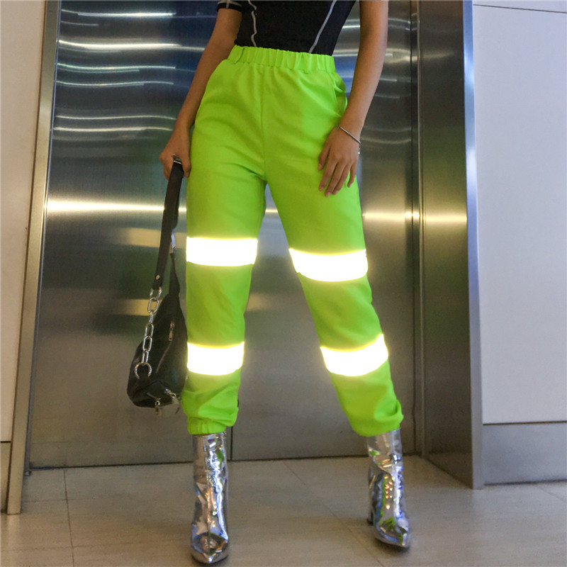 9822053c5577e US $15.87 40% OFF|Neon Green Reflective Pants Women Streetwear Joggers High  Waist Sweatpants Casual Loose Sports Trousers 2019-in Pants & Capris from  ...