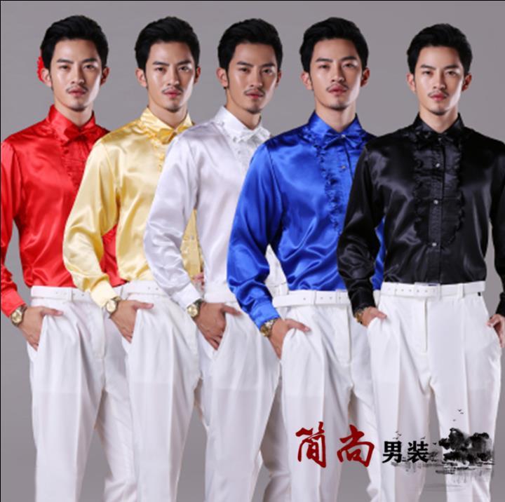 Wavy color golden lacines font b shirt b font font b men b font singer dance