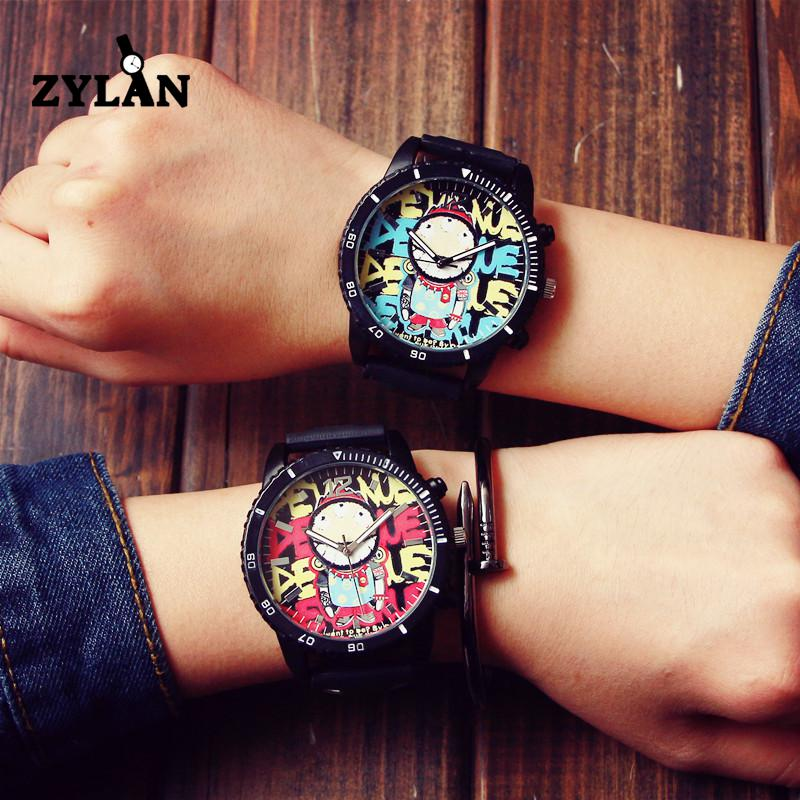 ZYLAN Fashion Graffiti Stylish Big Dial Rubber Strap Japan Core Quartz Analog Wrist Watch Hours Gift for Men Male Boy creative rotation dial black rubber band strap men quartz wrist watch fashion business style turntabble pattern women male watch