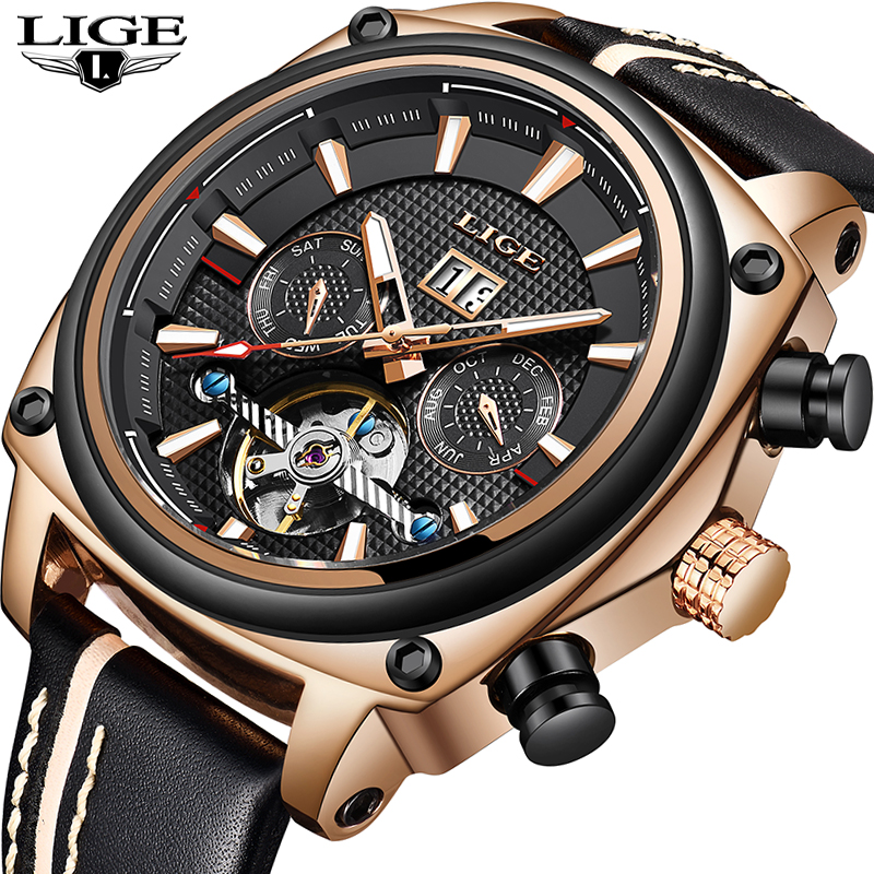 Men Watches LIGE Top Brand Luxury Tourbillon Automatic Mechanical Watch Men Fashion Waterproof Sport Watch Relogio Masculino