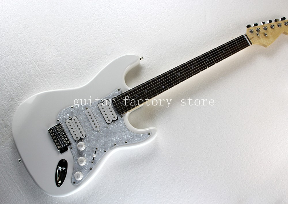 Wholesale White ST signature stylerosewood fingerboard stratocaster electric guitar free shipping free shipping new st electric guitar small dual track cut single pick up in white sbc73c wh art 36