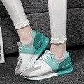 Новый 2016 женщины свободного покроя обувь высокое качество воздухопроницаемой сеткой обувь увеличение высокого заклинание цвет квартиры женские качели обувь плоские zapatos