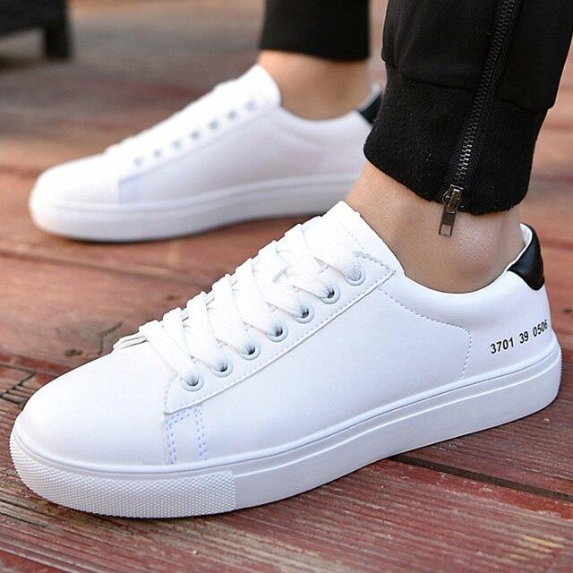 Повседневная обувь мужские белый простой стиль кроссовки для мальчиков на шнуровке beather человека обуви 2018 новая весна/осень sepatu pria