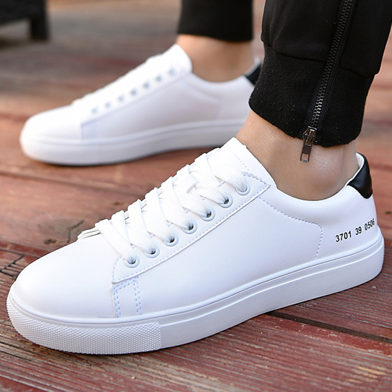 Casual shoes men vulcanize hoes white simple style sneakers for boys lace-up beather man shoe 2018 new spring/autumn