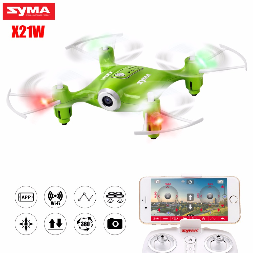 SYMA X21W Selfie Mini Drone with Wi-fi Camera hd FPV Dron RC Quadcopter 2.4GHz 4CH RC Helicopter Drones For Children Gift syma x21w mini drone with hd camera wifi fpv helicopter 2 4ghz 4ch 4aixs gyro altitude hold mode rc quadcopter mini drone