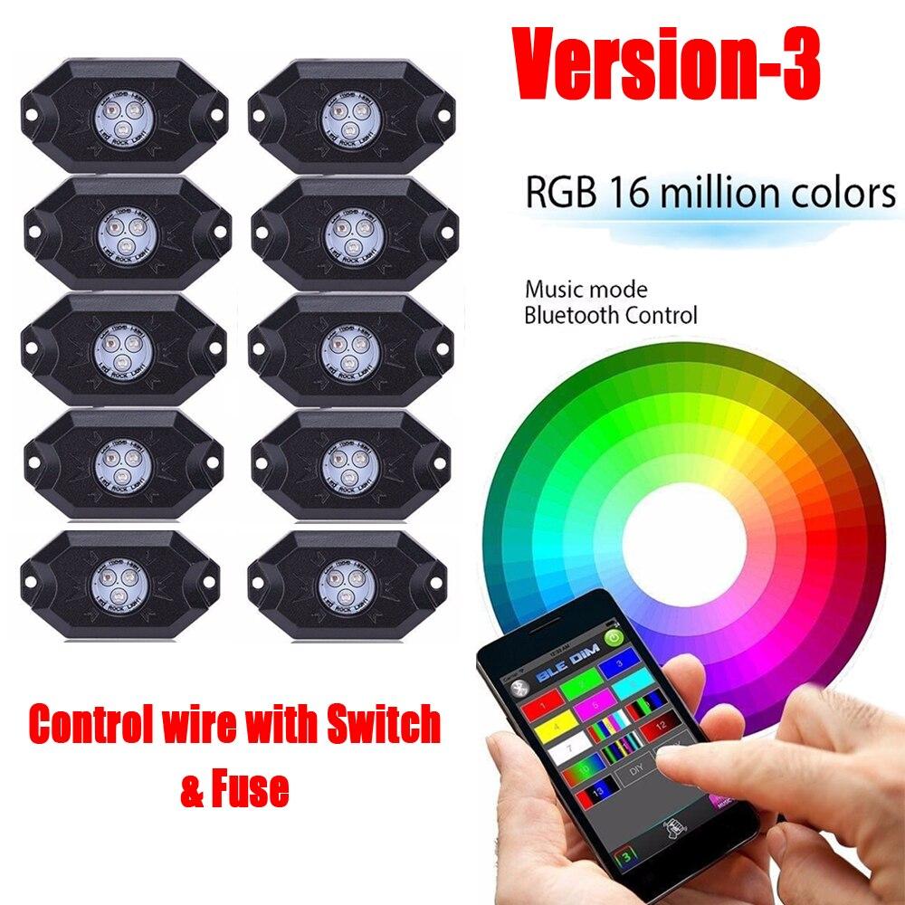 10 cosses RGB Kit de lumière de roche IP68 Bluetooth contrôle câblage et interrupteur pour tout-terrain SUV 4WD ATV sous voiture camion véhicule lumière