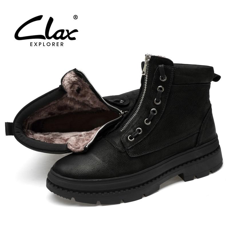 Neige De Zipper Grand Clax Top High Mens Cuir Peluche Chaussures En Hiver black Taille Véritable Mâle No Fourrure Black Chaude Occasionnels Fur Fur Boot Bottes Travail ZOzxZw