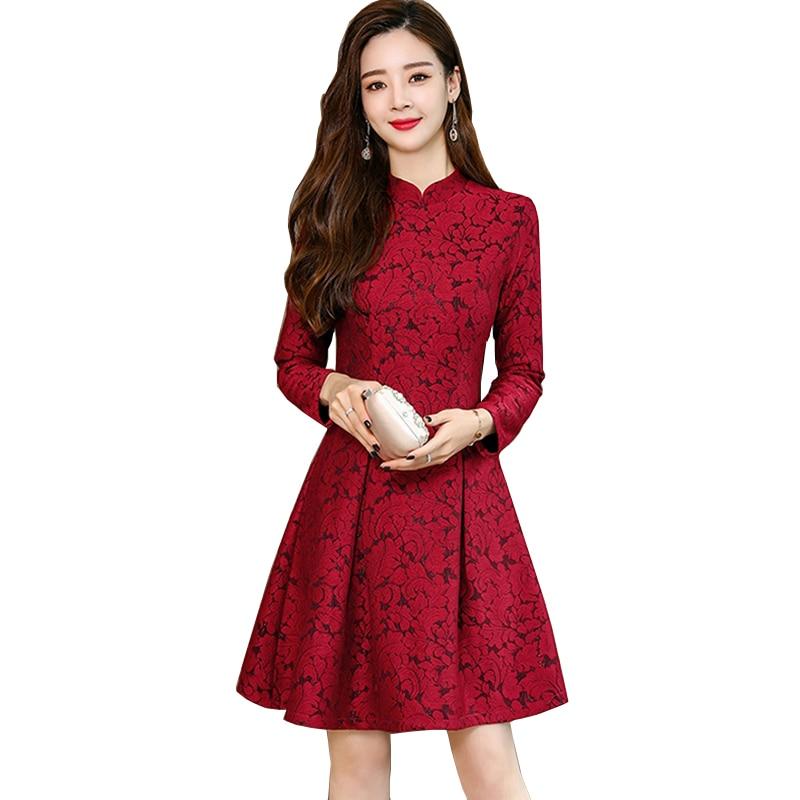 Vintage rouge violet dentelle robe femmes 2018 automne et hiver nouveau coréen à manches longues a-ligne Mini robe femme YM1043