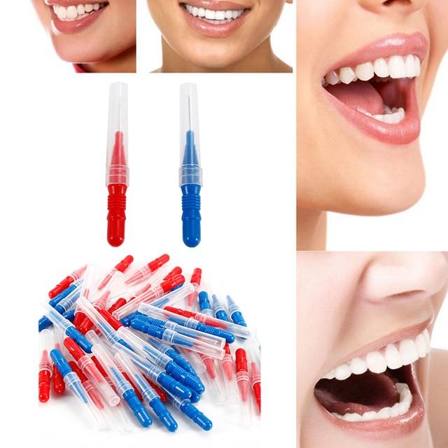 f01178f8c 50 unidades pacote Nylon Cabeça Dentes Interdental Escova de Dente Fio  Dental Higiene Dental Palito