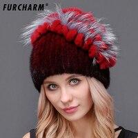 FURCHARM 2018 נשים חורף כובע פרווה כובע פרווה אמיתית מינק סרוג כובעי פרוות שועל כסף מינק נקבה רוסית חם בימס Hat עבור בנות