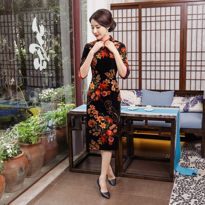 L De Qipao Femmes Trois Taille Floral Manches Velours M 3xl Col 1 Nouvelles Robe 4xl 2017 Style Chinois Cheongsam Xl Xxl Mandarin knP0wO