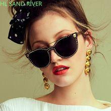 Sunglasses women 2018 cat eye rivet fash