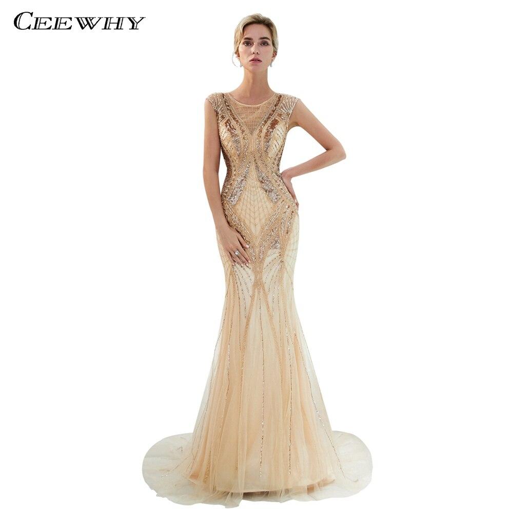 9524f0bd0c0 CEEWHY кепки рукава длинные золотые вечернее платье Русалка торжественное  для женщин Элегантный Саудовская Аравия Винтаж Вечернее