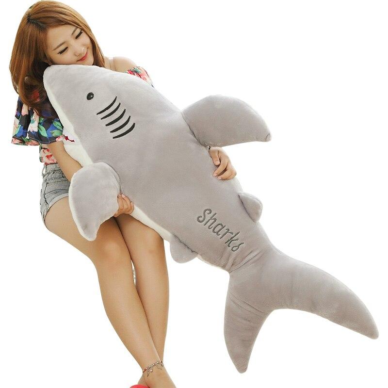 100 CM requin géant en peluche animaux jouets pour enfants doux enfants blanc requin oreiller jouets filles cadeau 1 pièces