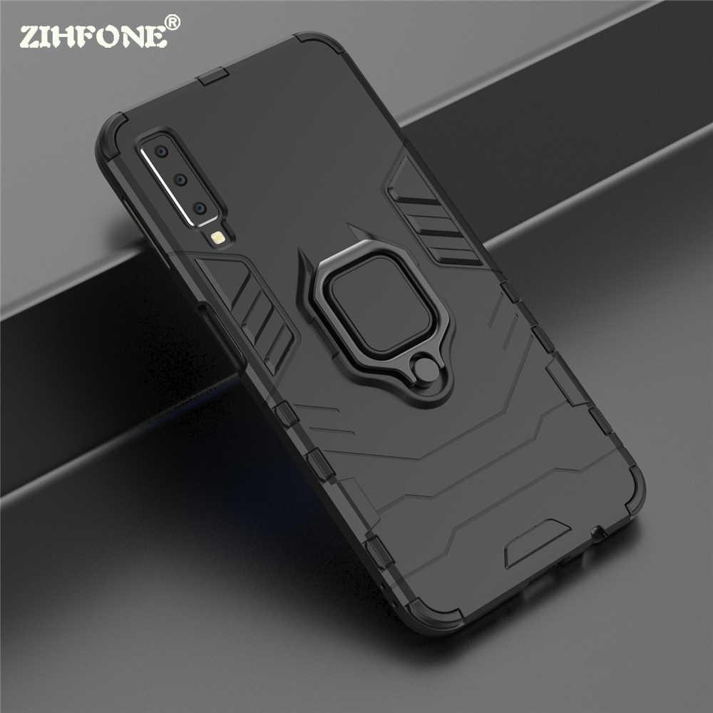 Sang trọng Armor Chủ Trường Hợp Đối Với Samsung Galaxy A7 2018 A750 Đầy Đủ Chống Sốc Bìa Đối Với Samsung J4 J6 Cộng Với S8 Vòng đứng Điện Thoại Trường Hợp