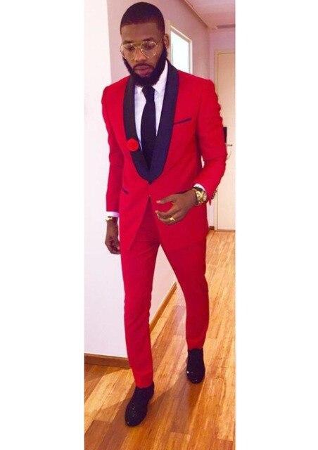 Dernières Manteau Pantalon Conception Rouge De Mariage Costumes pour Hommes  Veste Mince Fit 2 Pièce Smoking 8c0544258f0